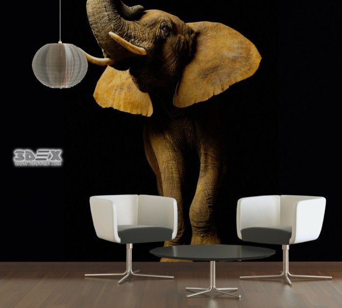 Realistic 3d Wallpaper Designs For Living Rooms With Elephant Image 30 Stylish 3d Wal 3d Wallpaper Design Wallpaper House Design Design Living Room Wallpaper