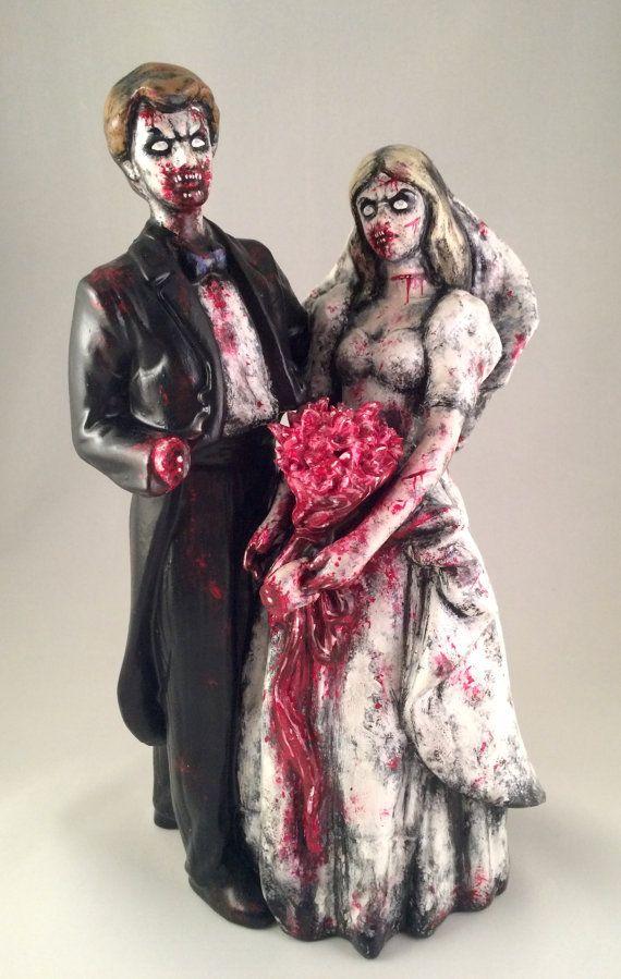 Zombie Wedding Couple Statue Painted Figurine Statue door zombiARTy