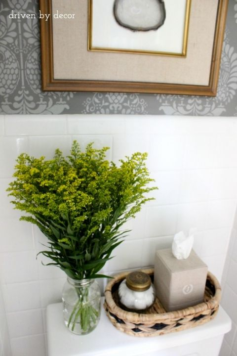 Our stenciled bathroom budget makeover reveal toilet apartments and bathroom inspiration for Toilet deco