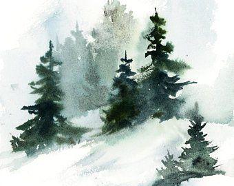 Blaue abstrakte ursprüngliche Landschaftsaquarell-Malerei, Winter-Landschaft mit alleiner Zahl, abstrakte Realismus-Natur-Malerei