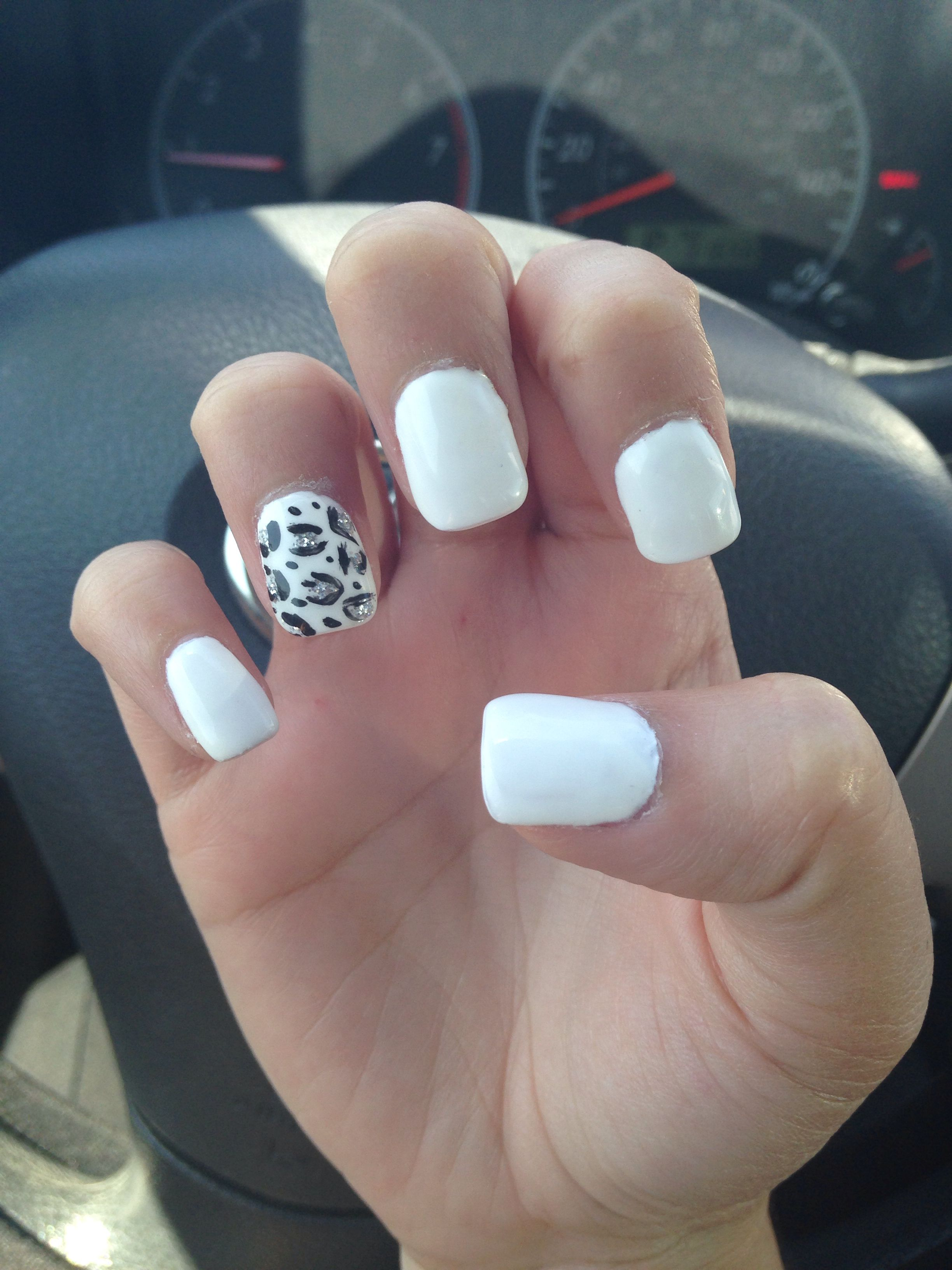 White nails with leopard print #acrylics | Nayuls | Pinterest ...