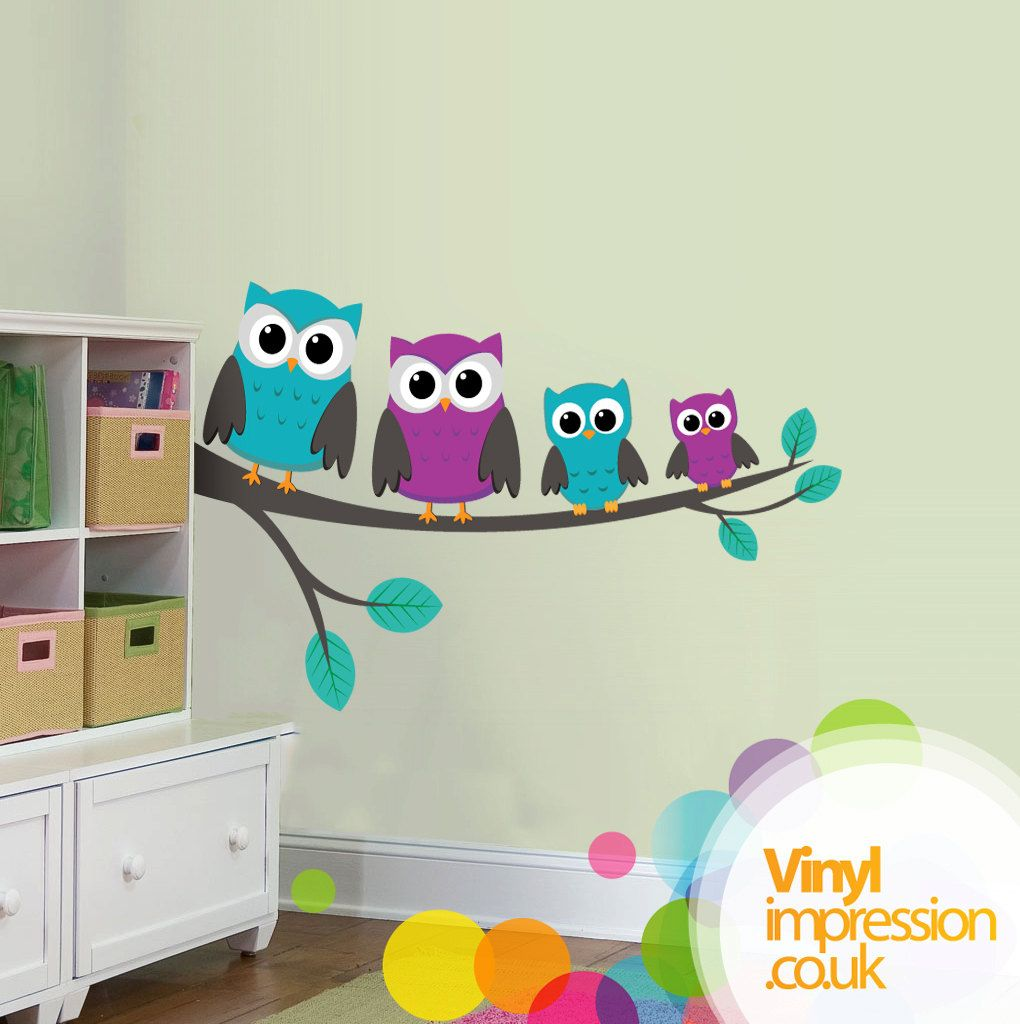 Family of owls vinilo decorativo vinilos decorativos for Vinilos decorativos pared ninos