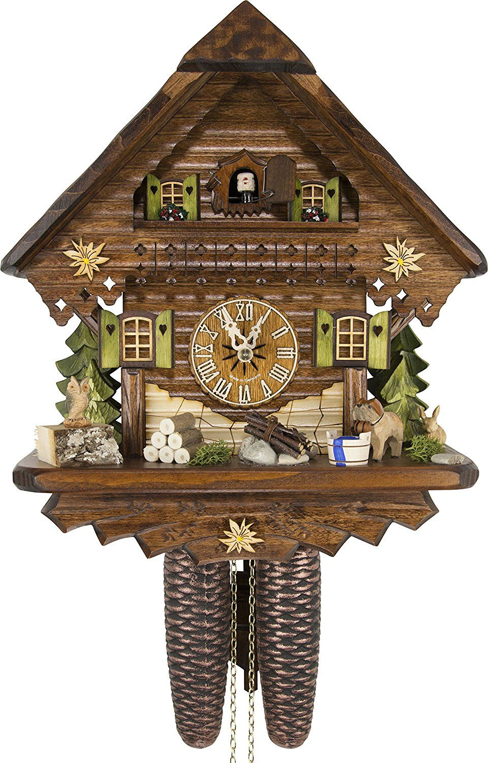 Amazon Com German Cuckoo Clock Summer Meadow Chalet By Cuckoo Palace With 8 Day Movement 13 1 3 Inches Height Home Kitchen Cuckoo Clock Cuckoo Clock