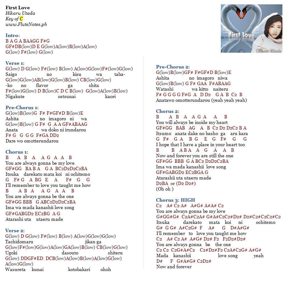 First Love Hikaru Utada First love, Piano notes songs