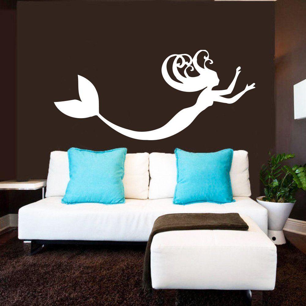 Wall Decals Mermaid Nymph Sea Animal Hair Beauty Water Nature Fish