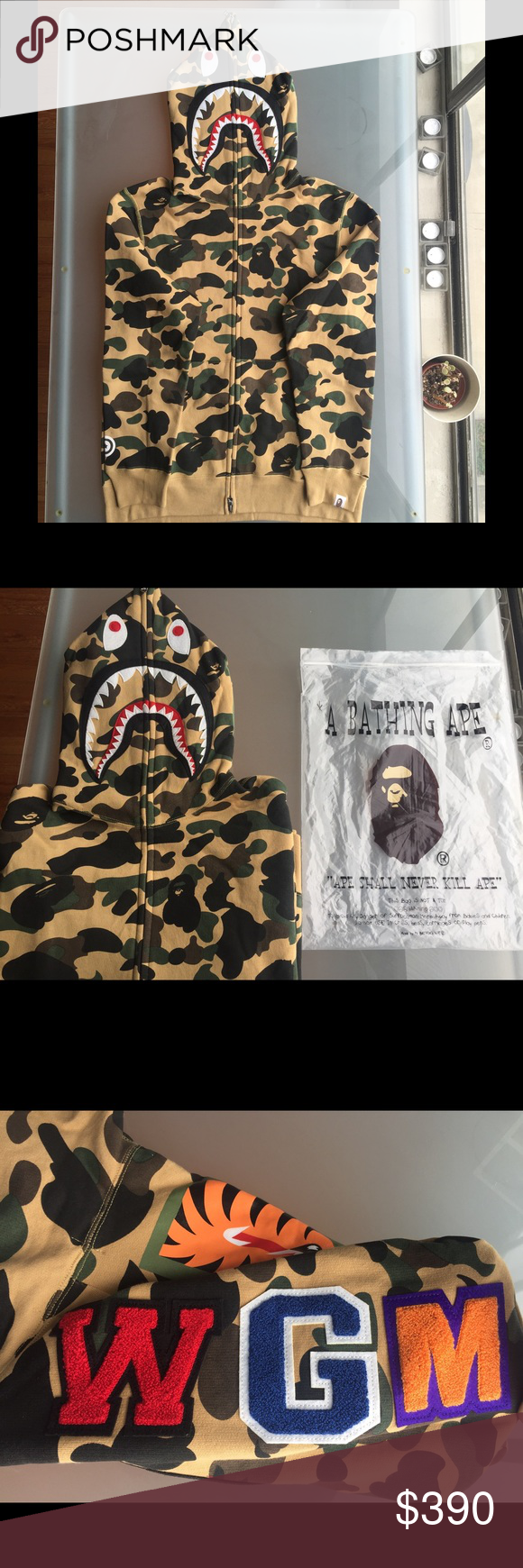 BAPE shark hoodie camo Large authentic. size large, perfect condition. ships out same day bape Shirts Sweatshirts & Hoodies