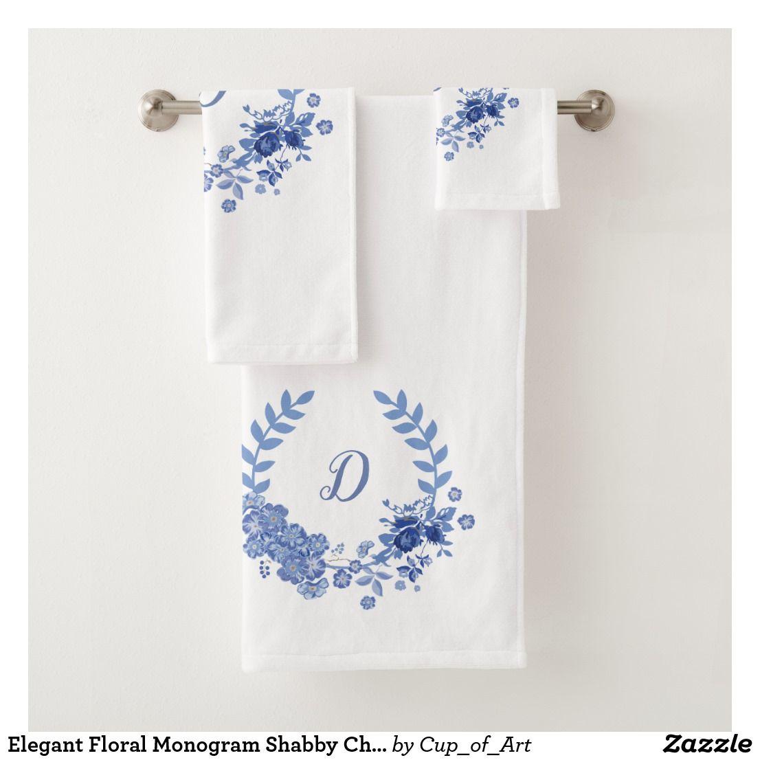 Elegant Floral Monogram Shabby Chic Blue Bath Towel Set Zazzle Com With Images Floral Monogram Blue Bath Towels Shabby Chic