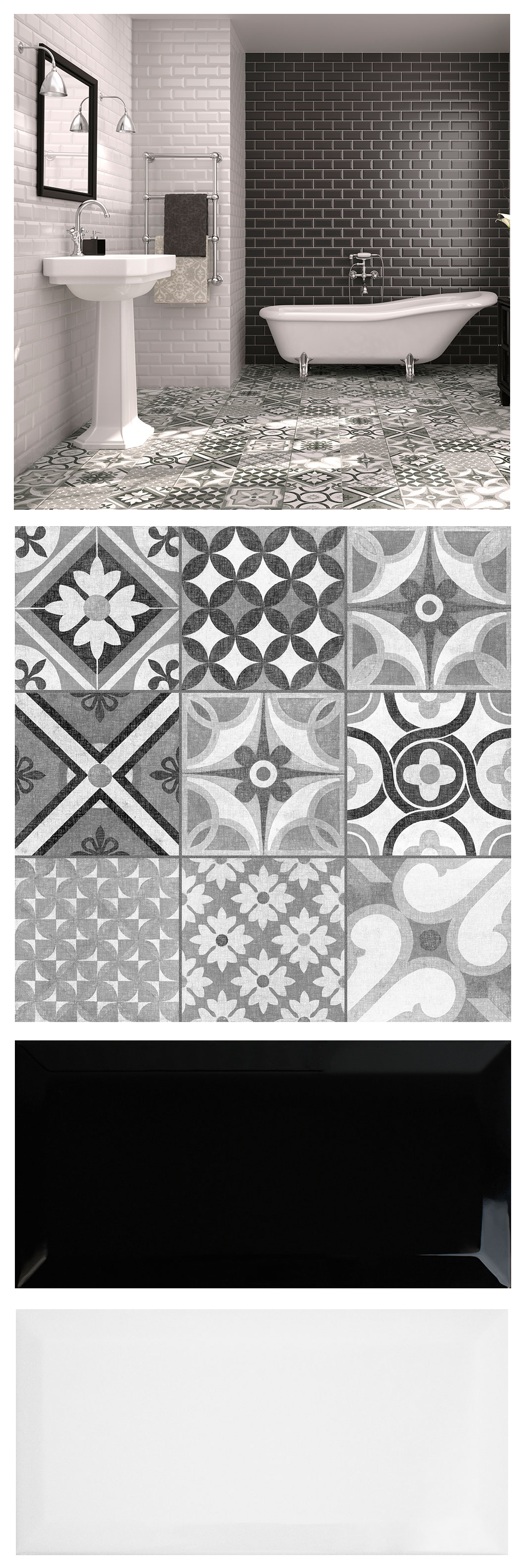 Mix Brick Shaped Metros And Patterned Zeinah Tiles For A Striking Monochrome Moroccan Mash Up In Bathroom Or Kitchen
