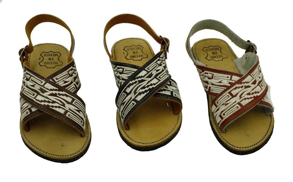 c9d167d9a92a new! MEN LEATHER MEXICAN two strap PITEADO BORDADO SANDALS HUARACHE ...