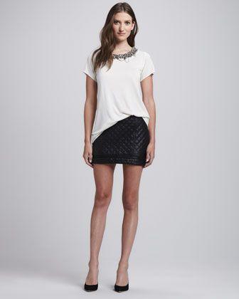 Haute Hippie Engineered Fair Isle Long Cardigan, Embellished-Neck T-Shirt & Quilted Leather Zip Miniskirt - Neiman Marcus