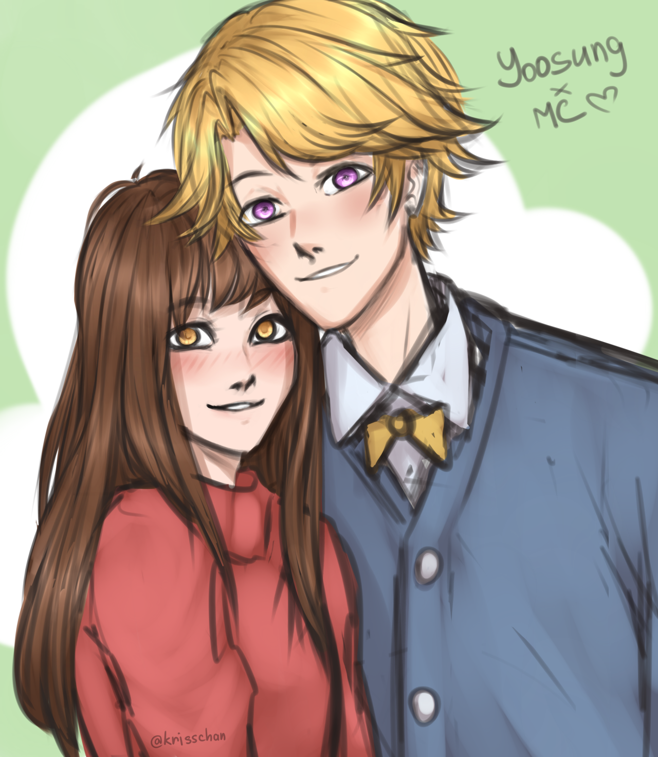 a lot of sketches — omgomg recently finished route Yoosung… ohh, I'm...