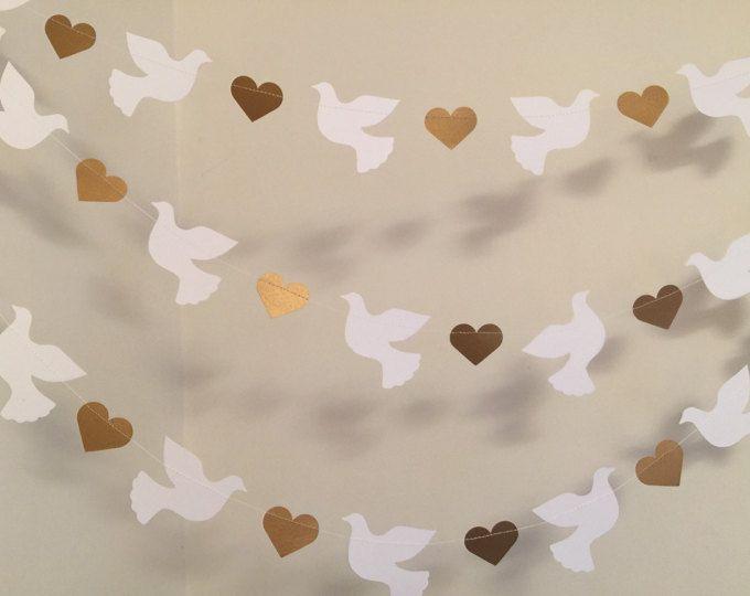 Peace Bunting  Doves  Pastels  Church Banner  Peace Garland  Baptism  Dedication  Christening