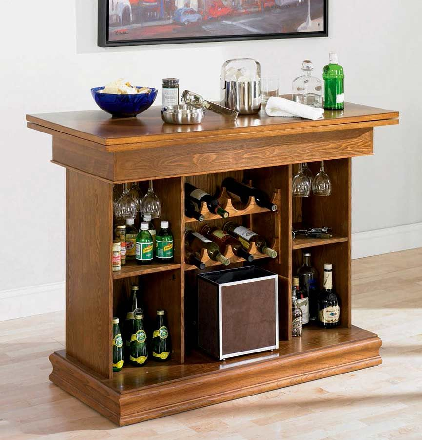 Functional All In One Table Bar Unit With Wine Rack Oak Furniture