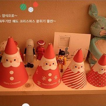 4 Style 8pcs Mini Card Santa Claus hat Design Lucky Love Christmas - invitation letters