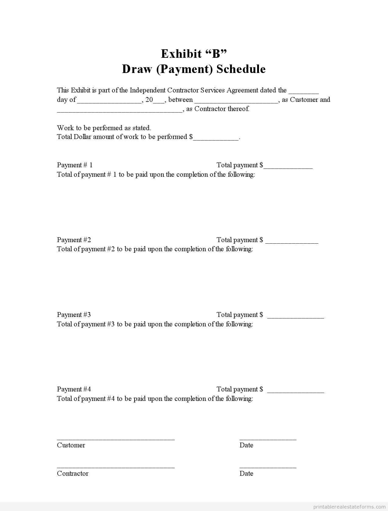 Sample Printable Draw Schedule Form  Printable Real Estate Forms