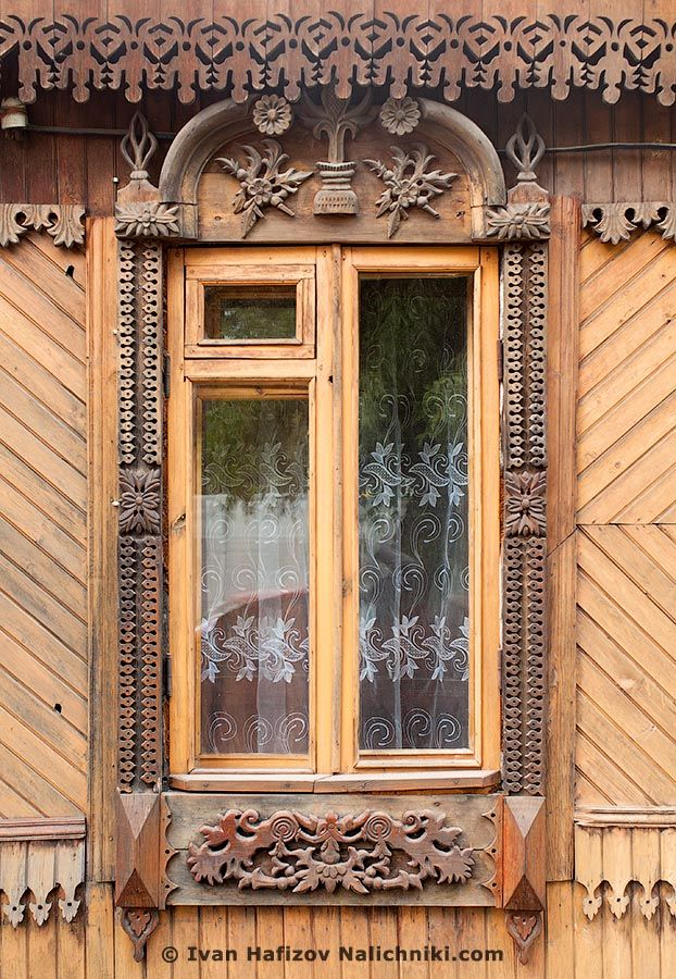 traditional decorative carved wood window frame, serpukhov, russia ...