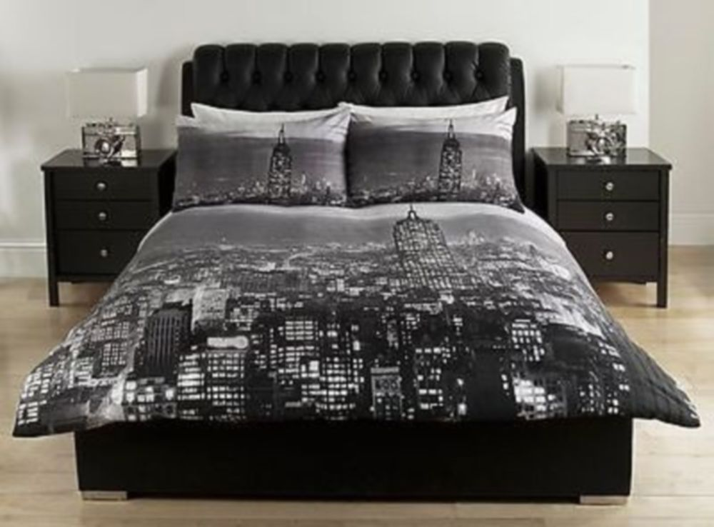 BLACK GREY NEW YORK CITY SCAPE DOUBLE Duvet COVERBEDDING SET
