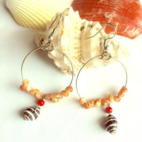 $7 SALE Zebra shell earrings New handmade silver wire stylish zebra shell earrings with coral color small sea shells. It comes with a jewelry box. Great for summer or for a gift. Please no trading or PayPal. Jewelry Earrings