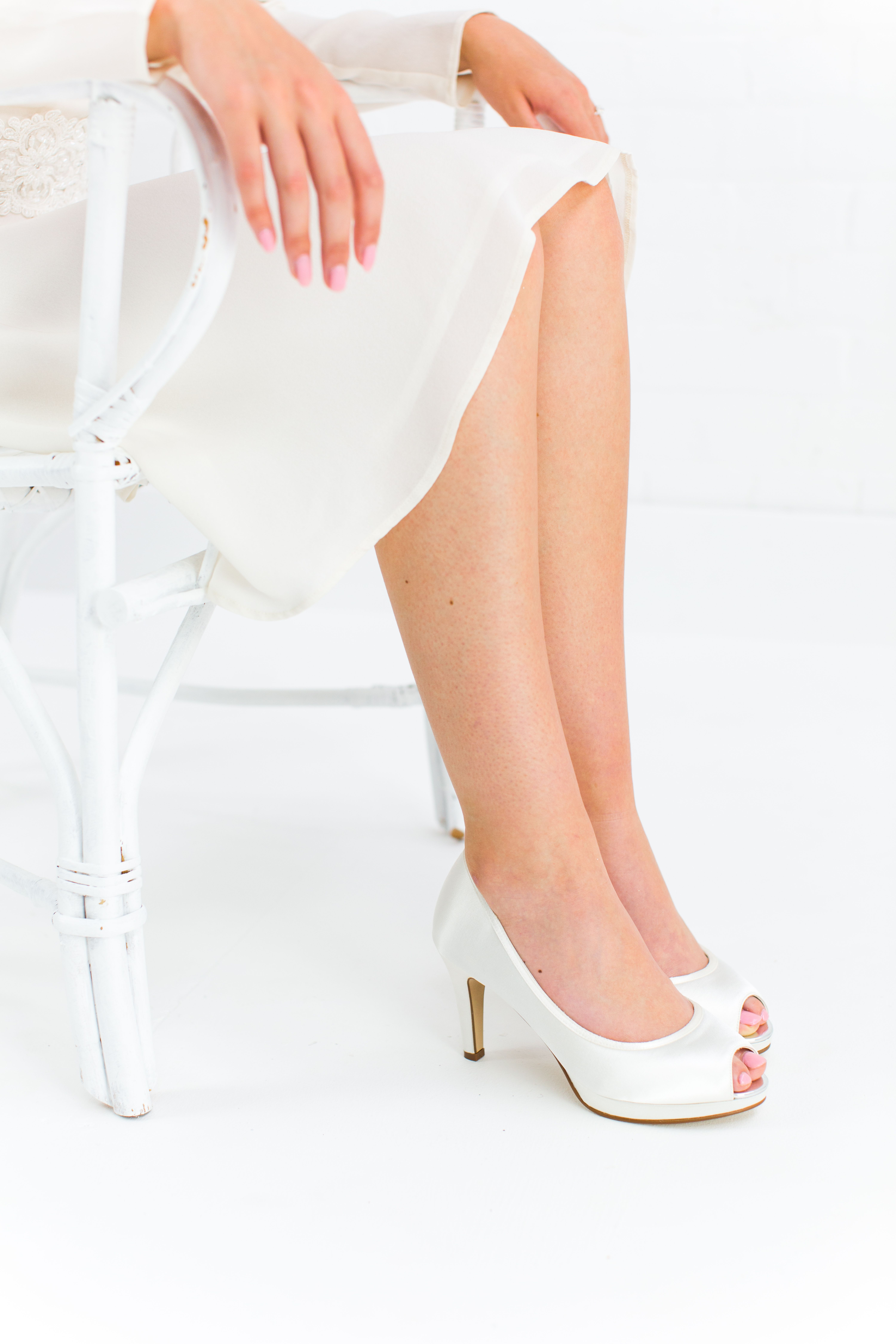 a2673adc2bc Amber - Ivory Satin Peep Toe Shoe in 2019