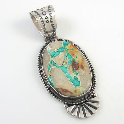 Navajo sterling silver royston ribbon turquoise pendant for Royston ribbon turquoise jewelry