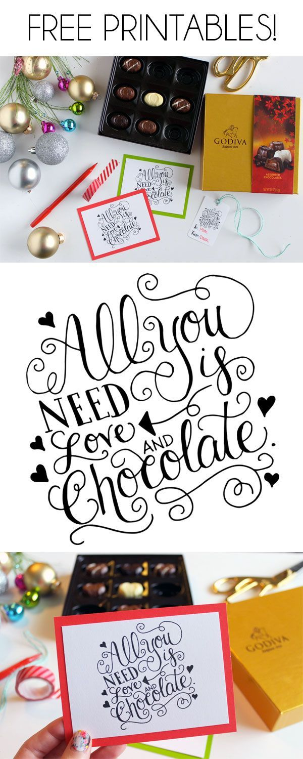 All You Need is Love and Chocolate. Give the gift of chocolate this year + add these sweet Hand-Lettered Gift Tag & Card Printables! dawnnicoledesigns.com #giveGODIVA #ad #pmedia @GODVIA