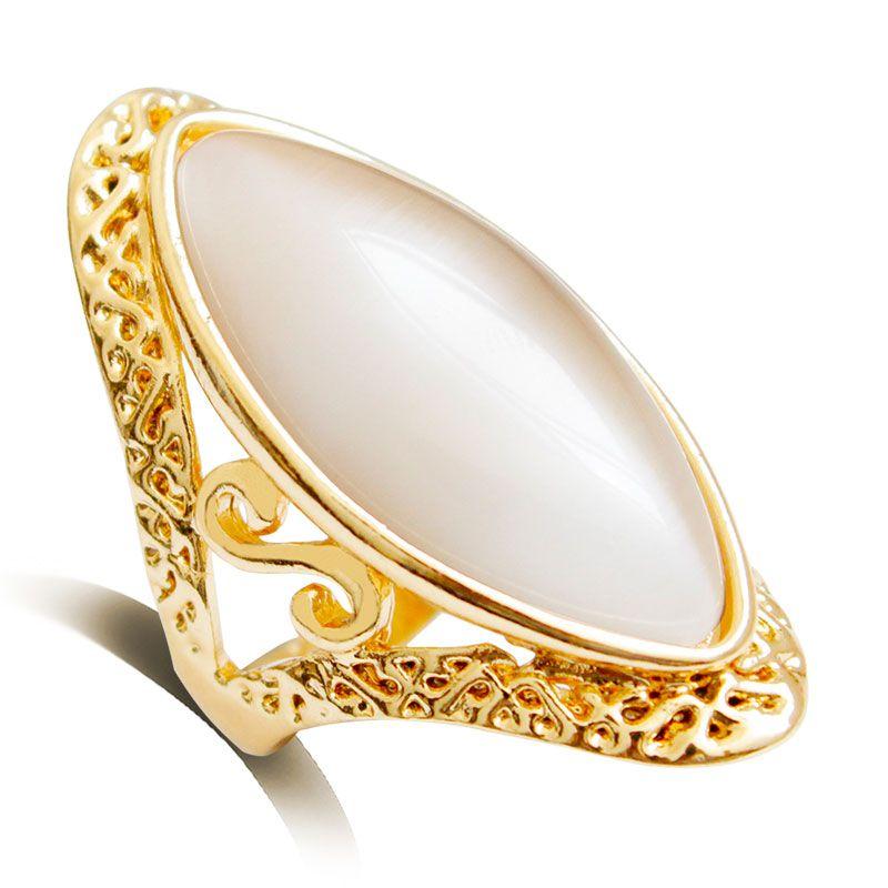 F & U Elegante Anello di Alta Qualità di Nuovo Modo Elegante di Colore Dell'oro Beige Ovale Opal Anello per la Signora Fine Jewelry anello