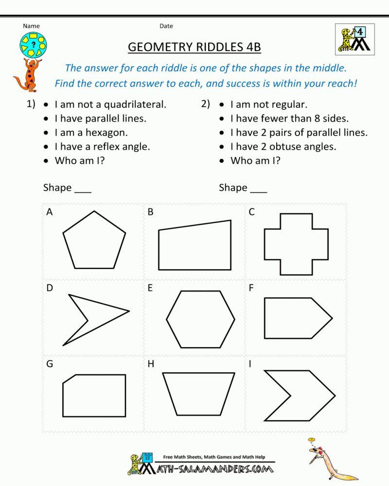 Free Printable Math Worksheets For 4th Grade Angles In 2020 Geometry Worksheets Math Geometry Free Math Worksheets
