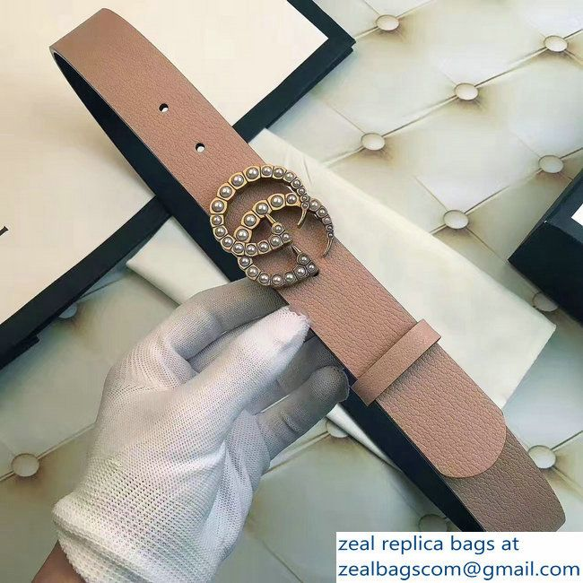 599bb20a058 Gucci Width 3.5CM Pearl Double G Buckle Leather Belt Pink 2017 ...
