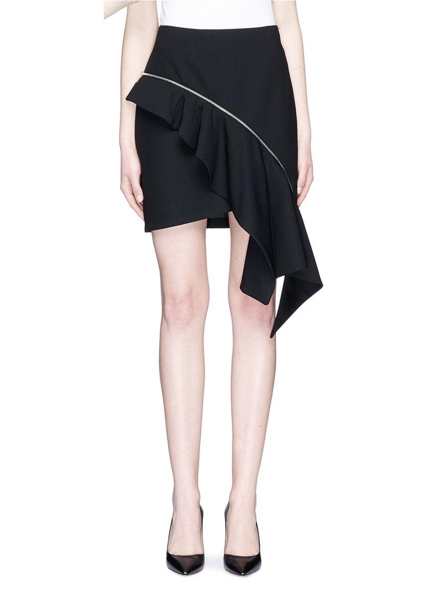 SAINT LAURENT . #saintlaurent #cloth #不对称荷叶边羊毛半身裙