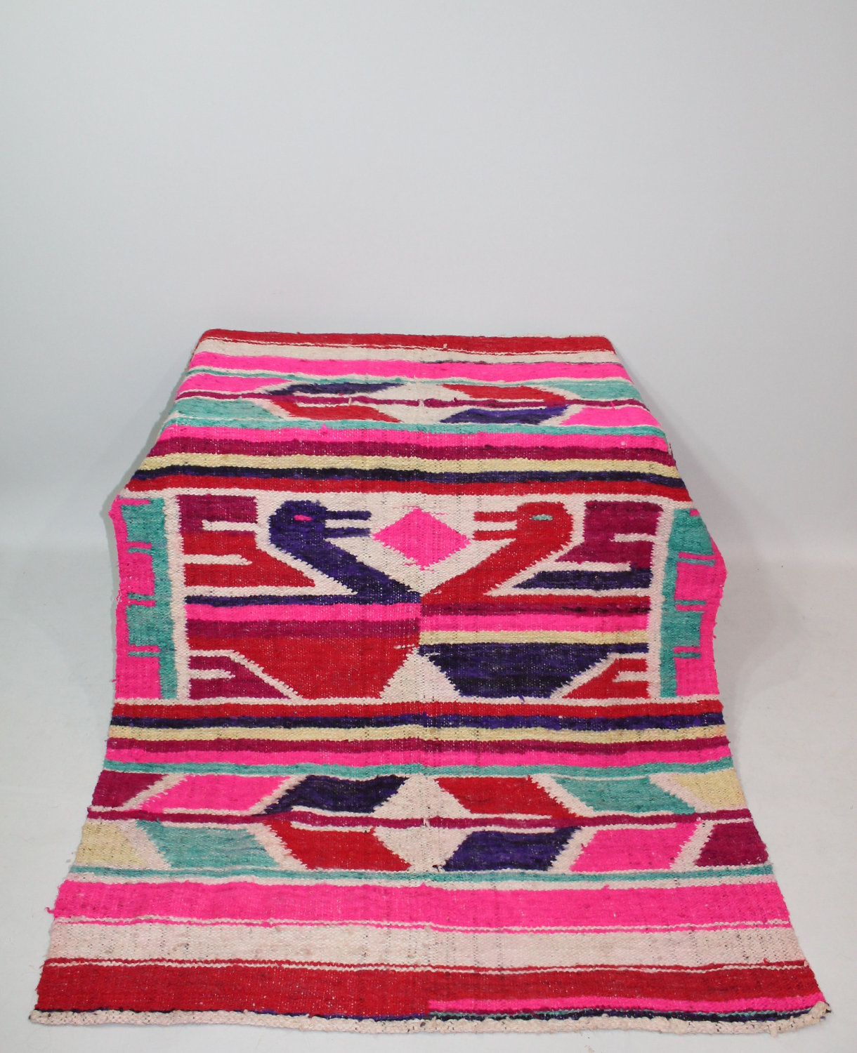 Mexican Rug Images: 60s Mexican Rug Blanket Wool Ducks Pictoral Brightly