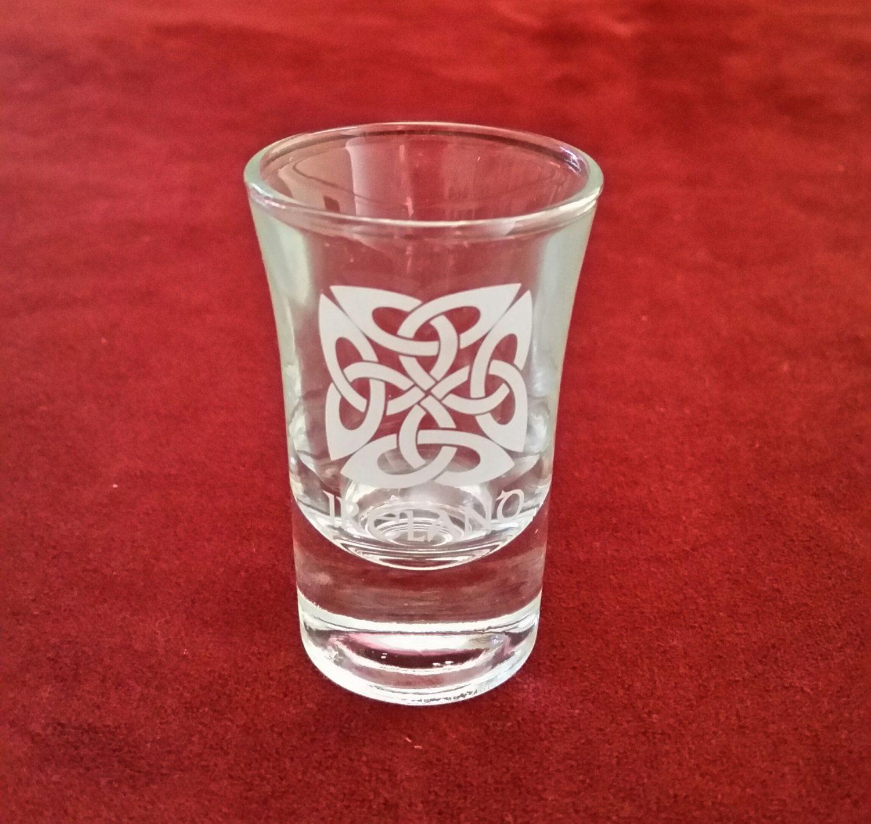 Irish Celtic Knot Shot Glass Frosted Celtic Knot Shot Glass Shamrock Gift Co Shot Glass Irish Shot Glass Irish Shamrock Gift Handmade Gift Item Vintage Barware