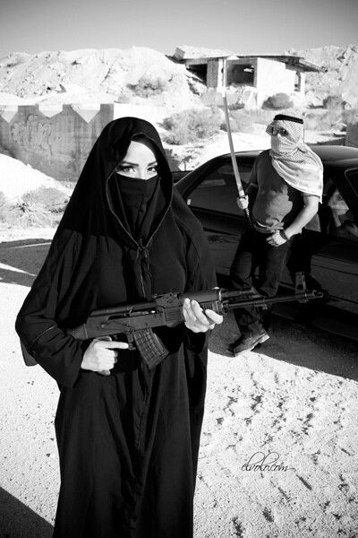 girl Muslim with gun porn