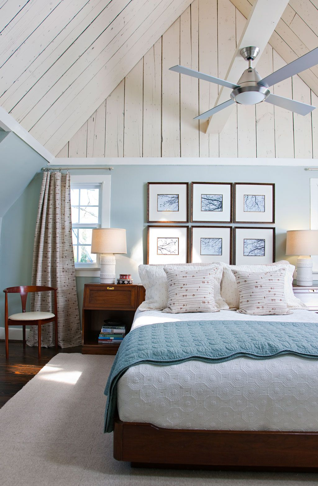 Beautiful bedroom...love this color of blue! Cottage