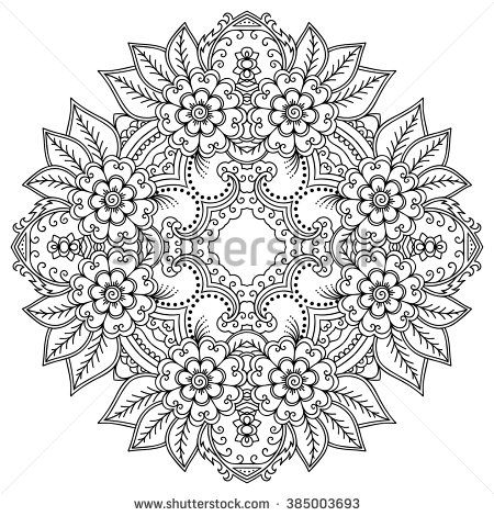 Vector henna tattoo mandala. Mehndi style. | mandala kleurplaten ...