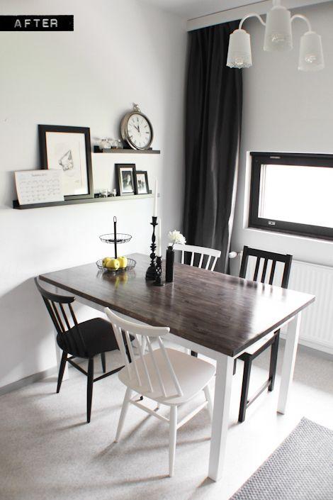 Wooden dining table makeover with steel wool and vinegar stain. mulla on taitava ystävä, käykää kattoo sen blogia <3