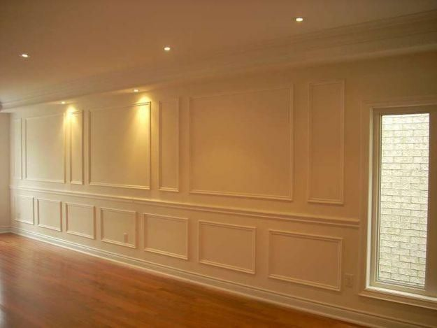 Shadow boxes like the pattern of small then large boxes for Living room wainscoting ideas