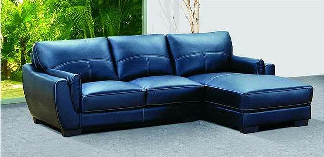 Navy Blue Style Leather Couch Sofa Picture