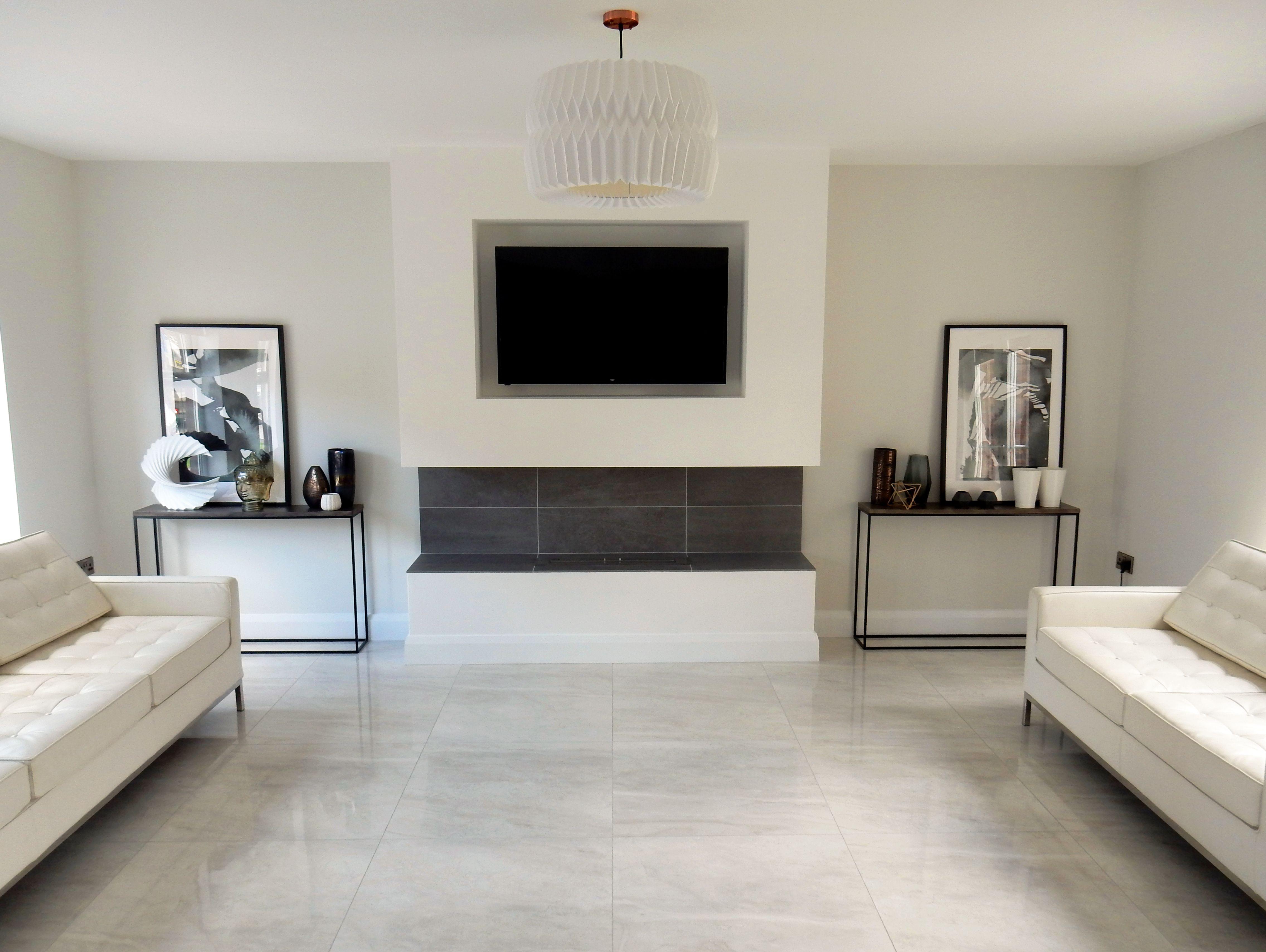 Stunning Shiny Grey Floor Tiles In Living Area Luxury Tile