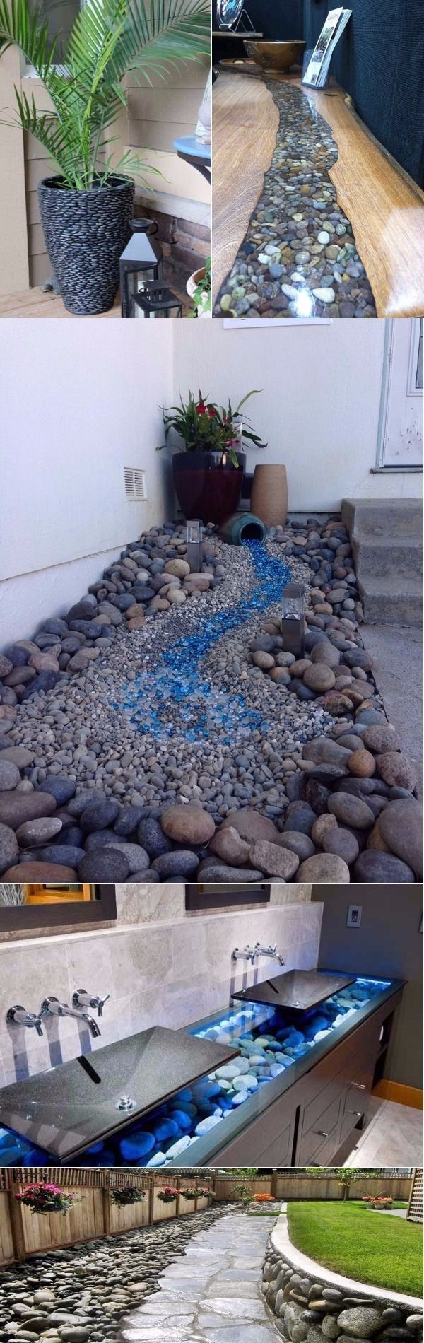Stunning DIY opportunities to decorate your home with River Rocks #Treppe stein #riverrockgardens
