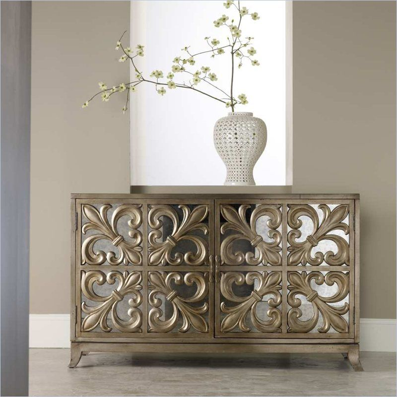 Hooker Furniture Melange Metallic Fleur De Lis Mirrored Credenza