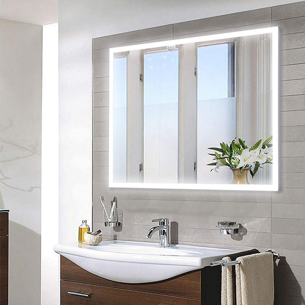 Vanity Art 28 In W X 36 In H Frameless Rectangular Led Light Bathroom Vanity Mirror In Clear Va3d 36 The Home Depot Bathroom Mirror Large Bathroom Mirrors Led Mirror Bathroom
