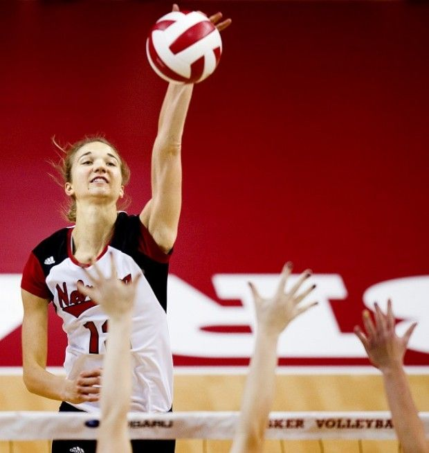 Nebraska S Morgan Broekhuis 12 Attempts A Kill Over A Pair Of Wisconsin Defenders In The First Set On Friday O Female Volleyball Players Nebraska Volleyball