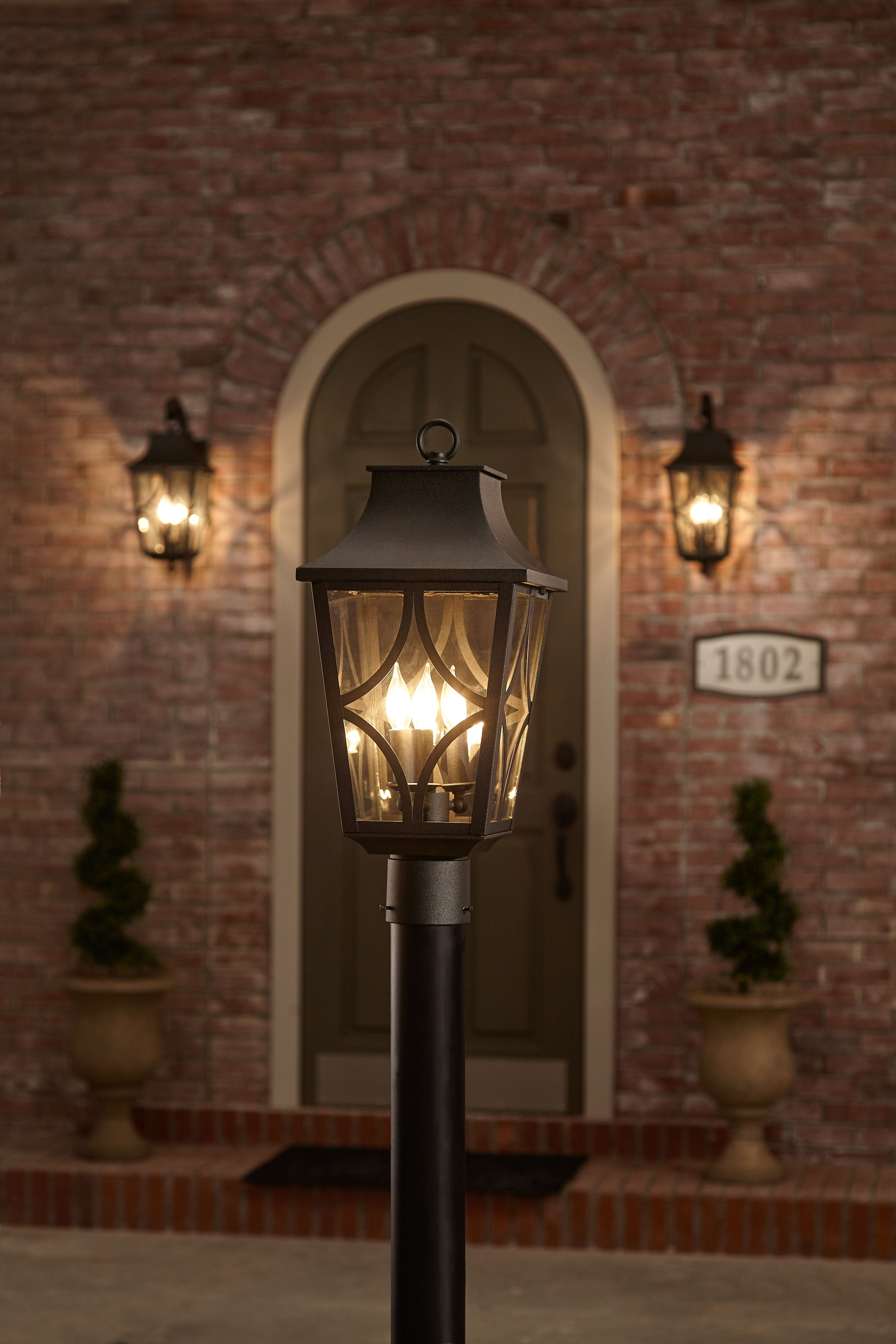 Classic Details Like The Shepherd S Crook Wall Mount Make This 3 Light Outdoor Post Light An Elegant Choice Fo Outdoor Post Lights Outdoor Lighting Post Lights