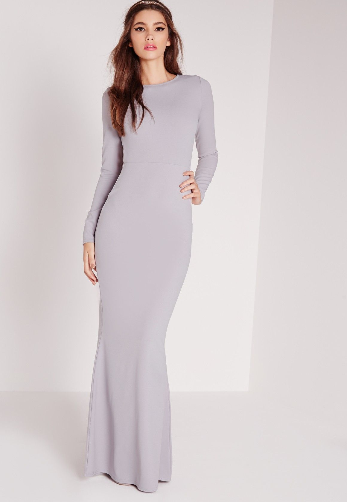db3a1591c1421 Missguided - Long Sleeve Open Back Maxi Dress Grey | fashion show at ...