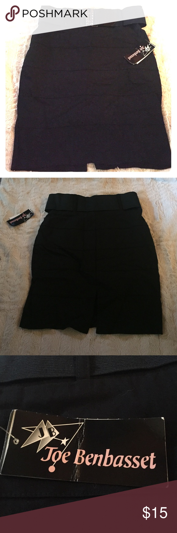 Black Pencil Skirt NWT. Black skirt, Detachable belt. Joe Benbasset Dresses