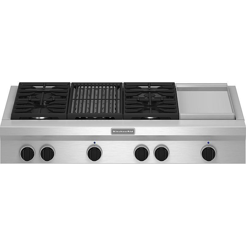 Kitchenaid Kgcu484vss Pro Style Reg 48 Gas Cooktop Plus Grill And