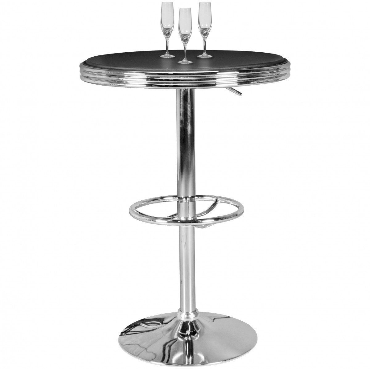 GroBartig American Diner Bar Tisch 60 X 100 Cm Aus MDF/Aluminium | Retro Stehtisch