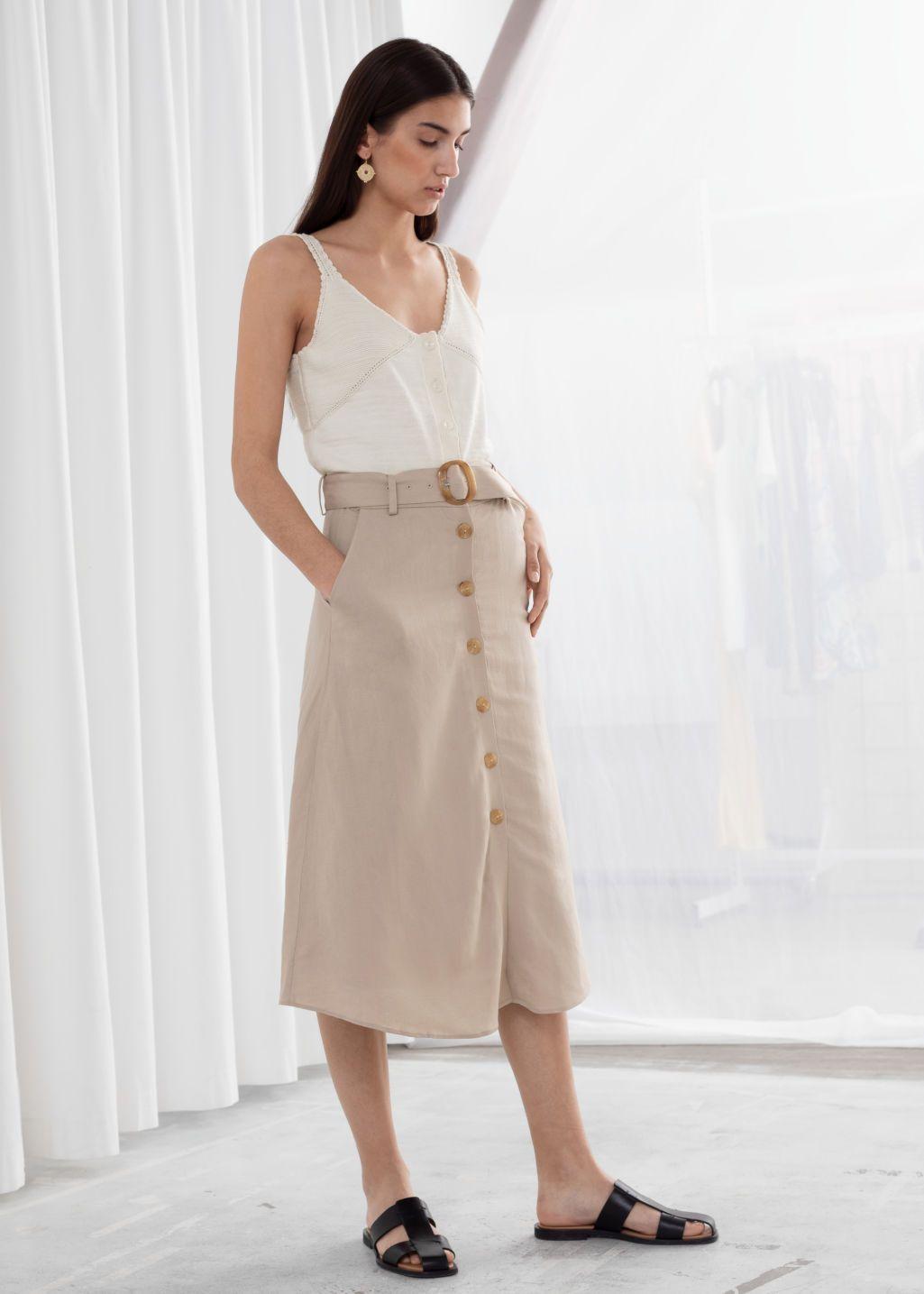 bd2f5ed4c Belted Linen Blend A-Line Skirt in 2019 | w i s h l i s t | Corduroy ...
