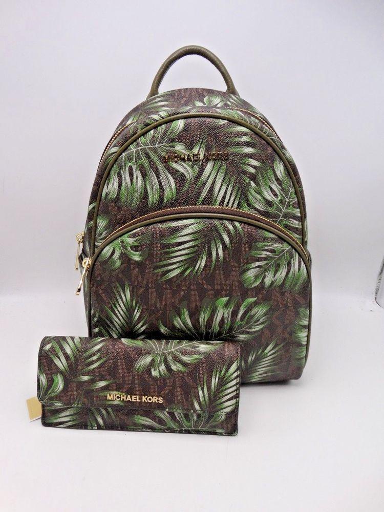 84dea837511b MICHAEL KORS PALM LEAF PVC ABBEY MEDIUM BACKPACK BAG & WALLET BROWN/OLIVE  New #MichaelKors #BackpackBagWallet