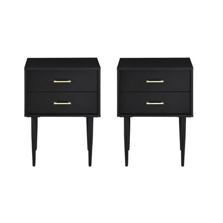 Mid Century Modern Black Two Drawer End Table By Manor Park Set Of 2 Walmart Com Bedroom Night Stands Modern Nightstand Modern Bedroom Furniture